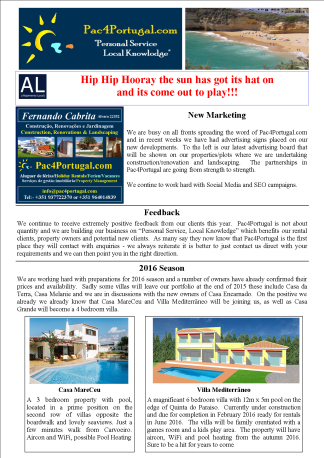Pac4Portugal August 2015 newsletter